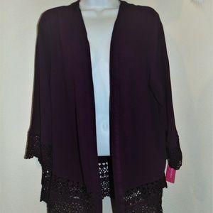 New Lace Trim Kimono-Cardigan Topper Jacket